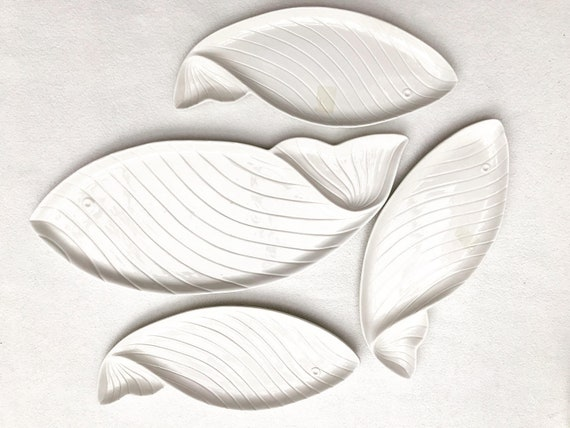 Nove di Bassano italian ceramic set 1960 White 1 Serving tray and fish shaped plates Christmas table decor white gift for her seafood