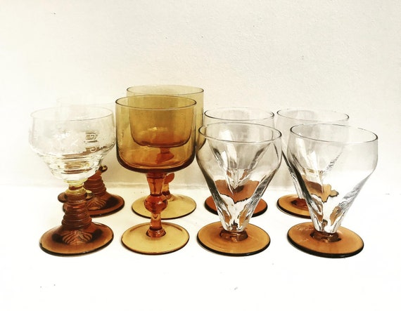 Amber drinking glasss wine and cocktail glasses Mismatched bar set christmas gift bar cart decor gold handle Mid Century Vintage French