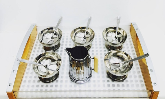 Ice Cream Set Cups Stainless Steel, Vintage 18/8, Marked with a Round Metal Tray to present them and a Sauce boat, Dessert Bowl, sorbet cup.
