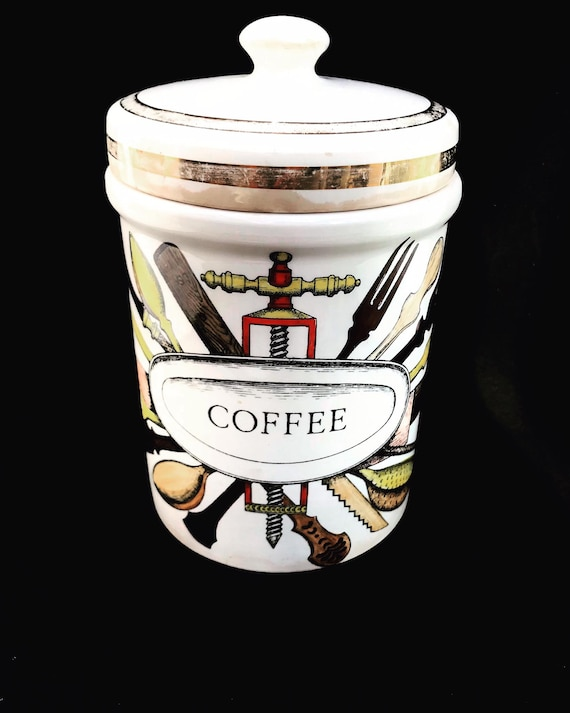 Fornasetti Original Canister Coffee jar with lid 1950s Golden Trim kitchen  Decor Italian design ornament Gift for him