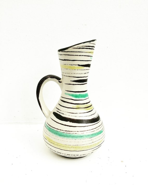 Vase Vintage Mid-century Modern West German Pottery  Lines Geometric Decor 50s  VASE 298-17 German Pottery   Keramik Beige black yellow
