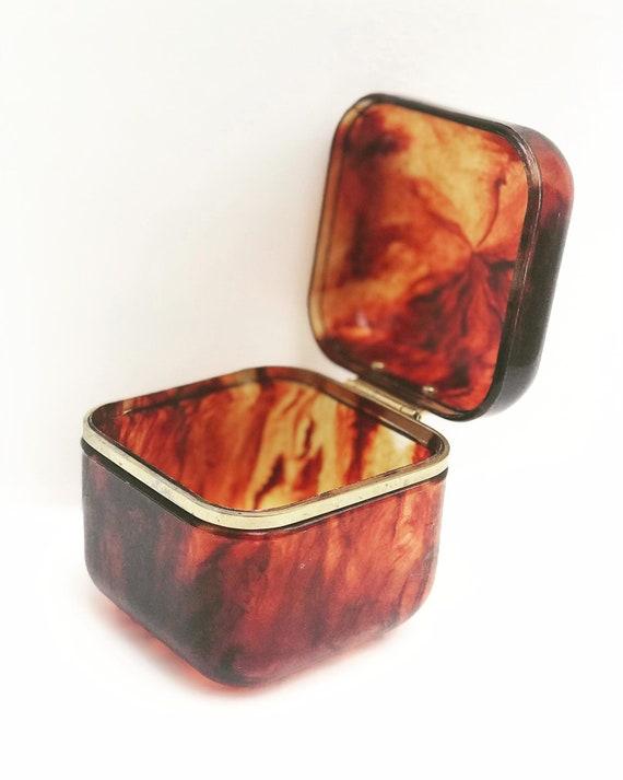 Faux tortoise shell box jewelry box desk decor Trinket box ring box desk accessory gift for collector gift for friend