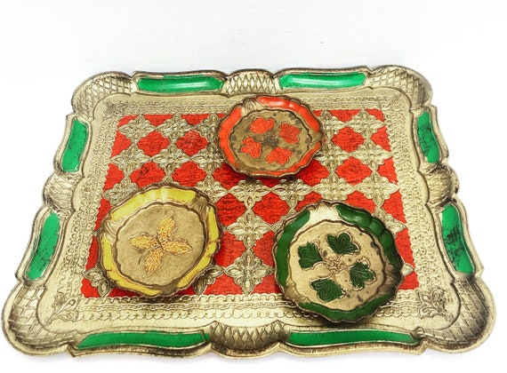Florentine Tray, Painted Wood and Gilt,  Vintage tray and Coasters Old Italian Platter, Gold Florentine green and red   Christmas decor