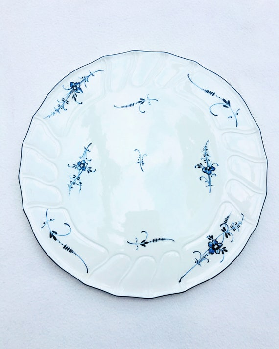 Cake Plate Villeroy and Boch, Round Serving Plate , Old Copenhagen Pattern, Pizza Plate, Quiche Plate China replacement, Discontinued China