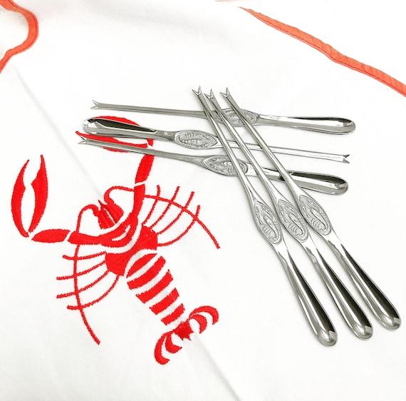 6 Lobster fork set Vintage Seafood picks forks cutlery  stainless steel Set Food photo prop Elegant Dinner wedding gift