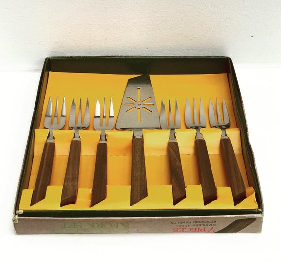 Cake server and fork set vintage rosewood, boxed Christmas gift for her stainless steel dessert cutlery forks set pie server Mid Century 60s