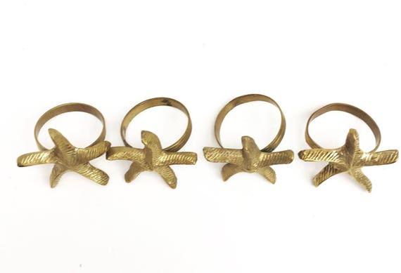 Animal napkin rings, Vintage French Brass,  Bronze  Napkin Rings set of 4, Vintage Solid Brass Starfish Napkin Holders, Mid Century,