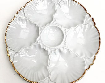 Oyster Plate Collection Antique 1 Oyster Plate, Porcelaine de Baudour, Vintage Belgian, White Oyster Plate, Dish Collection, Collectors