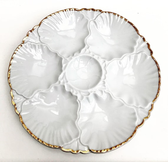 Oyster Plate Collection Antique 1 Oyster Plate, Porcelaine de Baudour, Vintage Belgian, White Oyster Plate, Dish Collection, Collectors
