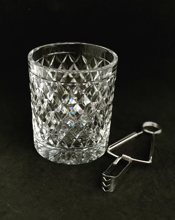 Ice Bucket Vintage HeavyCut crystal  Bucket 50s. Carved, bar accessories, mid century modern vintage bar, cocktails gift him