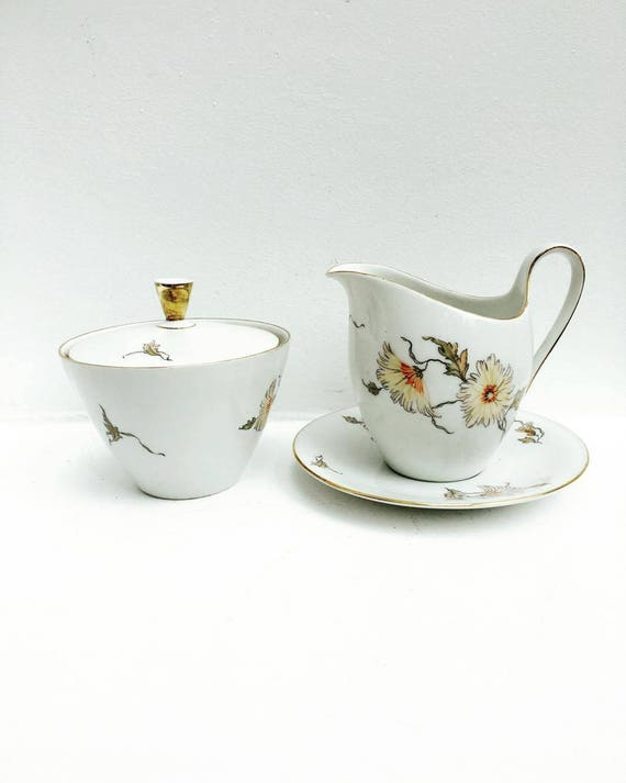 Creamer, Sugar Pot ,  Seltmann Weiden Bavaria Seltmann Weiden E. Bavaria China Isolde 50's German Porcelain, vintage porcelain, Mid Century