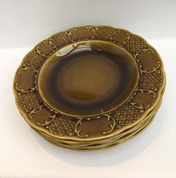 Boch La Louviere hollow plates Mid Century, soup plates, vintage table, dinner table, lunch table, belgian faience, vintage porcelain.