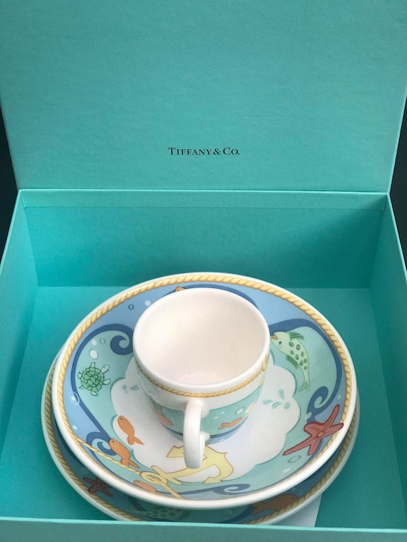 Tiffany and Co Baby gift dinner plates for child with cup 3 pieces Tiffany sailor Made in Japan Baby born gift christening gift children