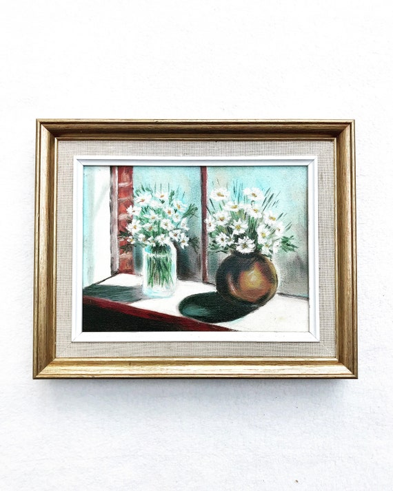 Oil Painting original Framed Still Life Bouquets Daisy French Vintage wall art bouquet flowers acqua blue vase shabby chic decor golden