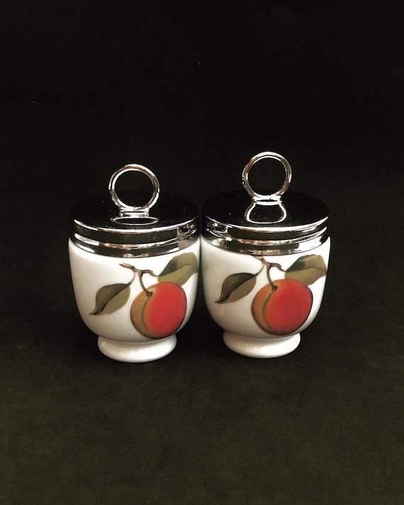 2 Vintage Royal Worcester  Single Egg Coddler Peach illustration Fruits Cottage Chic Motif Porcelain China Made in England, Pattern 1990s