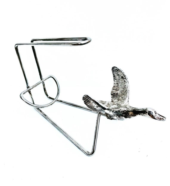 Wine Pouring Basket  Wine Bottle holder With duck  Vintage Silver Plated Wine Cradle  bar accessories decanter wine hunter gift christmas
