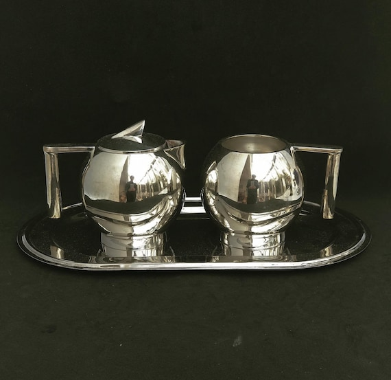 Creamer and sugar bowl  set  Baloon vintage bauhaus style art deco style silver plated  tray tea table decor kitchen decor wedding gift