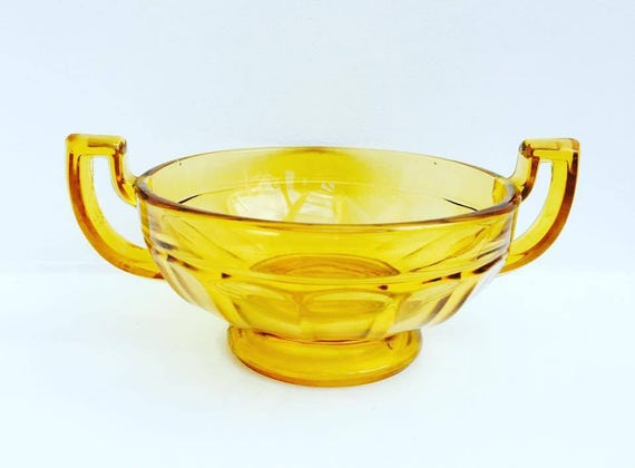Art Deco  Fruit Bowl Amber  by Val St Lambert (VSL), Luxval Line, Noémie Pattern, Trophy Style Handles. 1935, Collectors Art Deco Glass