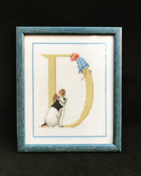 Vintage Cross-stitch Initial D dog and mouse Needlepoint Crewel Needlework Art Embroidery wall art gift for new born baby room nursery decor