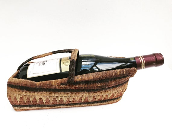 African woven wine basket pourer cradle sweetgrass holder ethnic boho chic table bohemian home bar cart decor christmas table red decanter