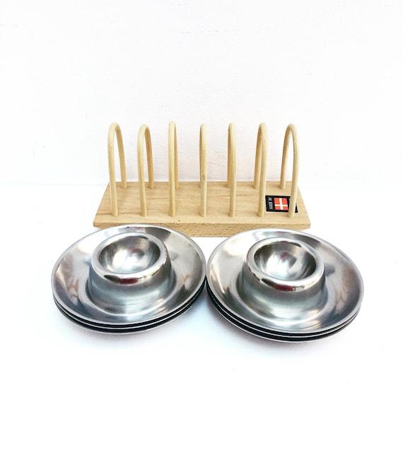 Egg cup set of 6 stainless steel 60s wooden Toast holder made in Denmark , breakfast set, vintage egg holder kitchen tools wood toast holder
