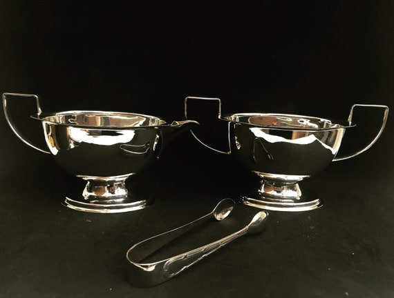 Art Deco Milk jug and Sugar Bowl silver plated England 1920s boxed with sugar tongs wedding gift Tea table décor kitchen display