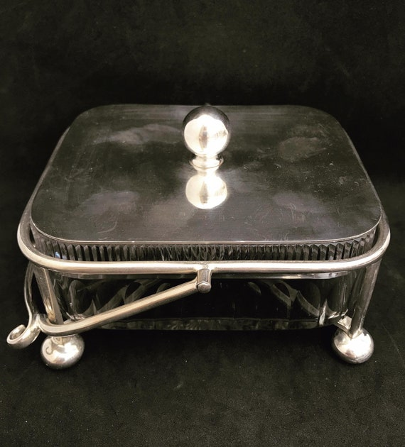 Butter dish with lid crystal cut silver plated Antique Edwardian lidded cheese jam pot condiments wedding gift English tableware decor