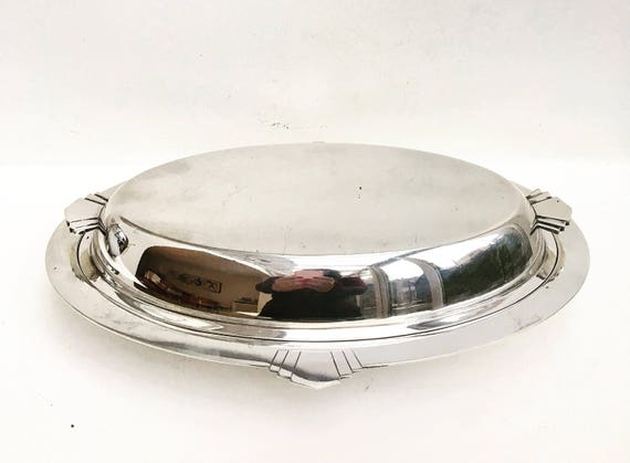 Art Deco Serving Lidded Plate Vegetable Dish Silver Plated James Dixon and Sons 1920s England Oval plate Deep platter Gift for Her English