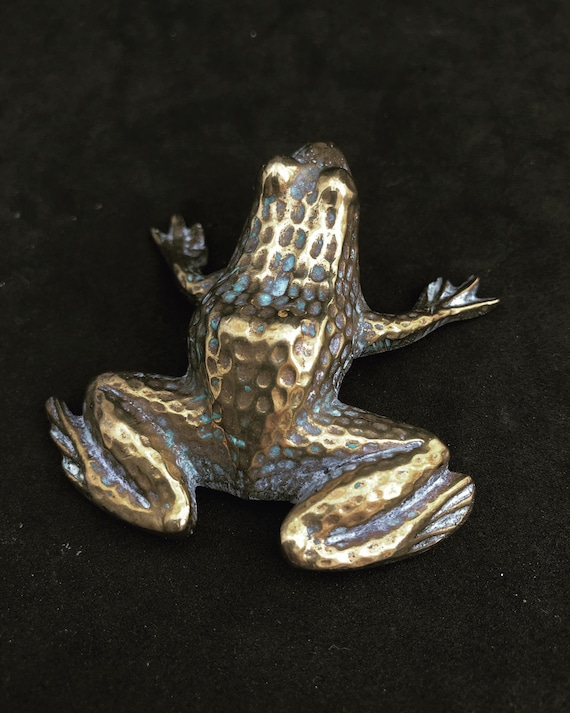 Vintage Figurine  Frog Vintage Brass  Desk decor Bronze accents frog lover gift Mid Century, Solid Brass Animal Figurine MCM