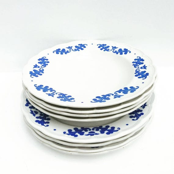 Old China, Boch Frères, Belgium, 8 pieces, Service Table, china  replacemen 4 Plates Hollow, 4 Plates Dinner, 4t
