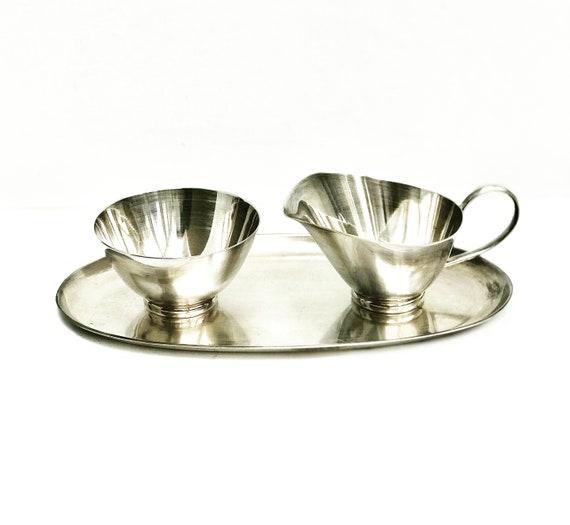 Sugar and milk set with tray Vintage WMF silver plated Mid Century Modernist creamer milk jar sugar bowl wedding gift for mom MCM coffee tea