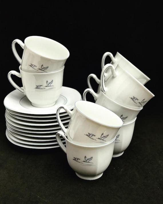 Tea Coffee cups and saucers  set 8 Porcelain Winterling spülmaschinenfest  bavaria Vintage rare replacemnt Birds  beachside coast kitchen
