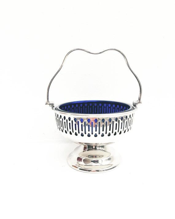 Sugar bowl pedestal bon bon dish Falstaff Silver Plated England Cobalt Blue Liner with handle, blue glass liner  sweets, olives, nuts 1940s