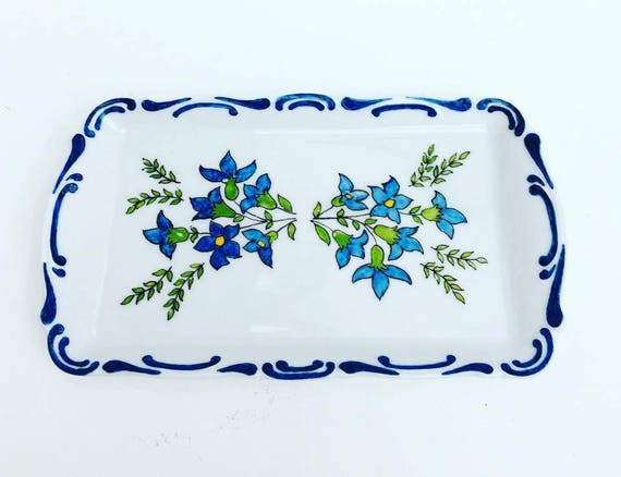 Blue and White Porcelain Tray by Mitterteich, Bavaria, Germany, rectangular and painted by hand, Serving Plategerman porcelain