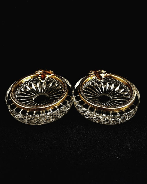 Pin dish set crystal and golden brass rim with leaf decoration Coin change dish ring dish nut serving ashtray desk decor Hollywood Regency
