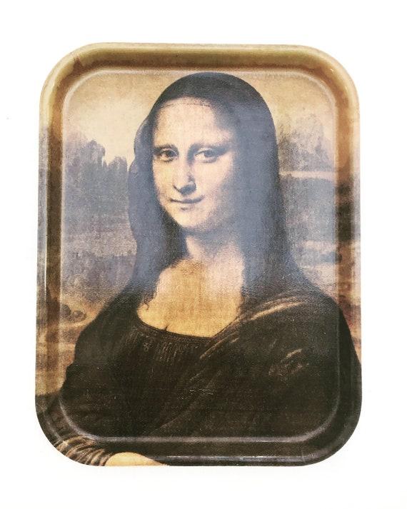 Mona Lisa La Gioconda Large Service tray illustration Leonardo da Vinci Bar display tray kitchen decor Vintage French Fibreglass 60s gift