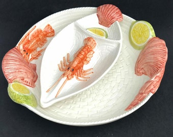 Seafood Serving Plate with sauce dish Round lobster shellfish italian pasta plate salad plate handmade pottery  Italy