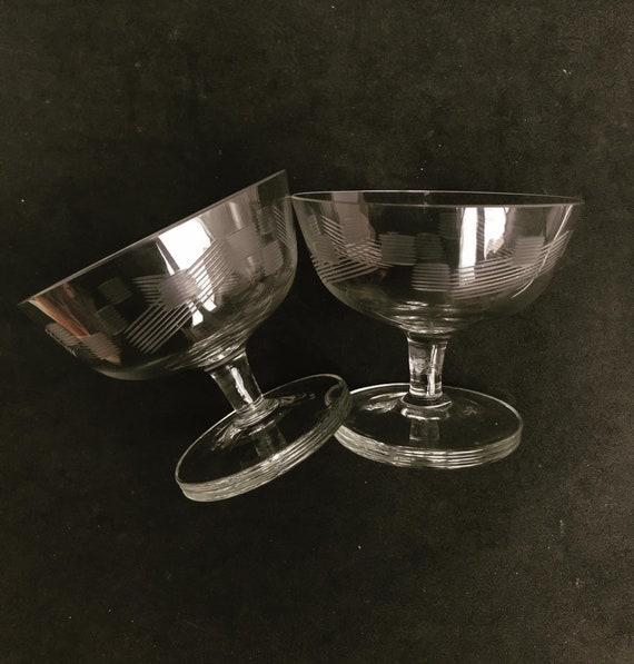2 Antique Champagne coupes glasses crystal cut coupes 1920s French set 2 Stem bar cart decor wedding bartender cocktail glasses gift