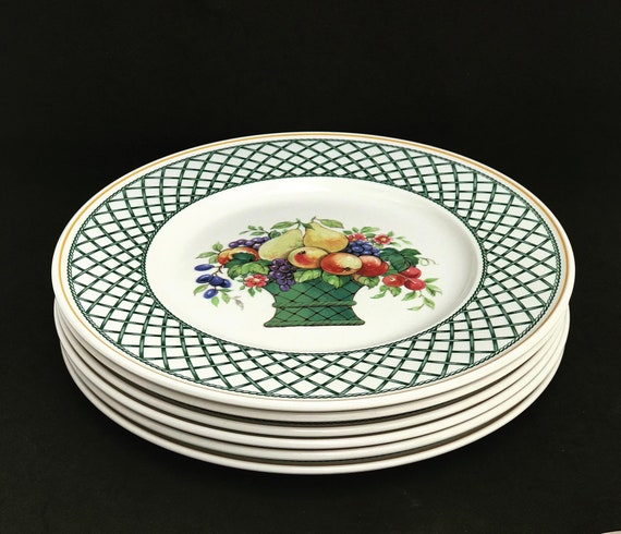 6 Villeroy & Boch Basket Dinner Plates Collectable China Replacement Vintage Dinnerware Dish, Collection, Discontinued China  wedding gift