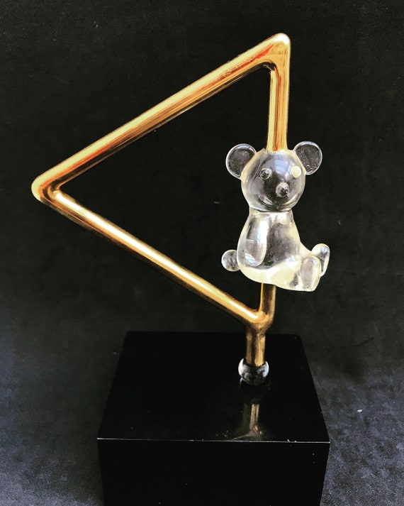 Teddy bear Vintage Art Sculpture clear lucite acrylic glass golden child room decor 70s decor trophy desk decor gift for her new father gift