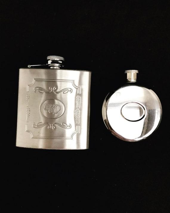 Hip Flask set 2  England  Vintage 6 oz gift for him, groom gift Leather barware barcart decor christmas gift him liquor bottle whisky flask