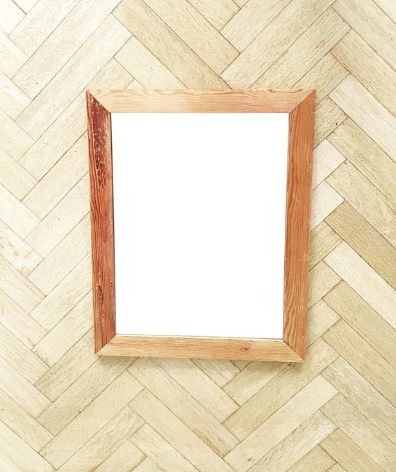 Vintage wooden mirror rectangulair rustic wood mid century decor entry decor bathroom decoration, Vanity Wooden Mirror, Framed Mirror