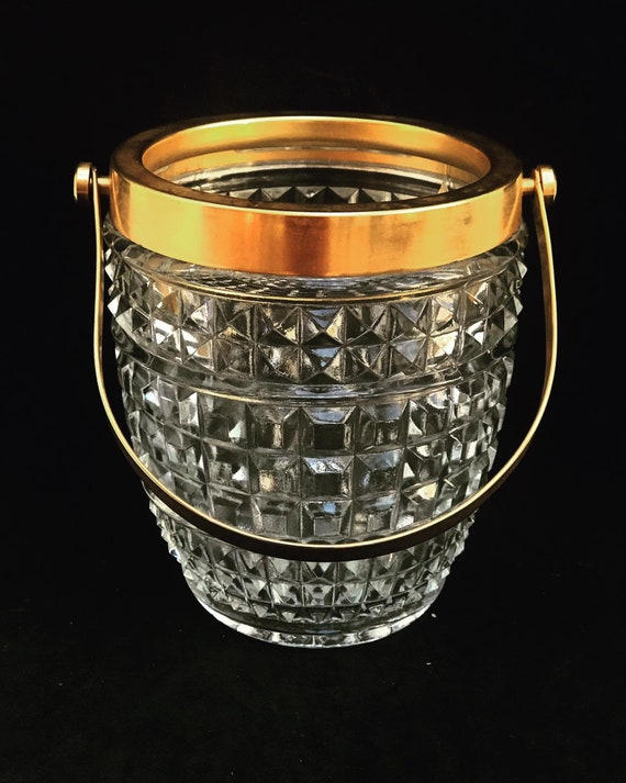 Ice Bucket French with golden metal handles  molded glass Mid Century barware  Mixology tools bar cart Hollywood Regency man cave gift