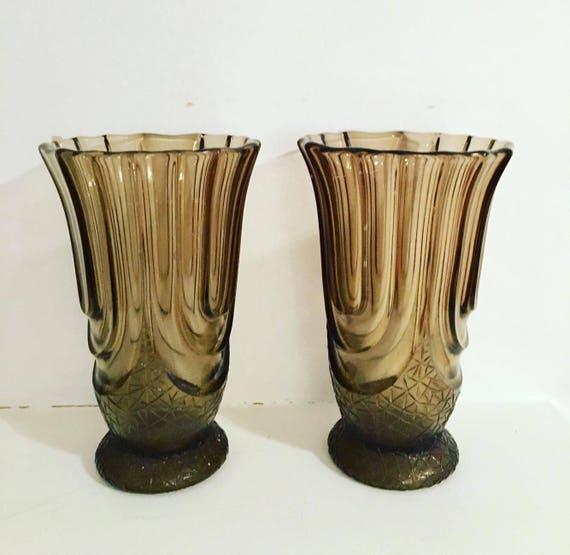 Art deco vases Pair of smoke pressed glass vases Scailmont designed by   Henri Heemskerk model luxor gift for couple