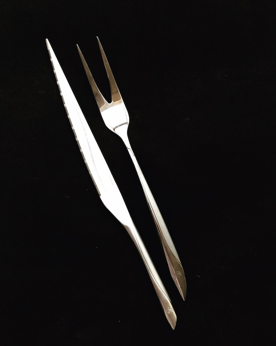 Carving cutlery serving fork and knife stainless steel Modernist Vintage barbecue tools gift for him grill accessories outdoors living