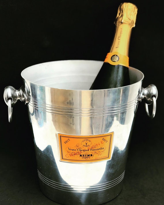 Veuve Clicquot champagne ice bucket  chiller cooler wine orange decor bar cart gift for him gift for dad garden party decor