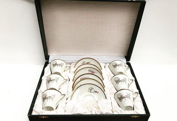 Winterling Bavaria Espresso set 6 cups and saucers Vintage 50s boxed wedding gift christmas for her coffee set girl decor white porcelain