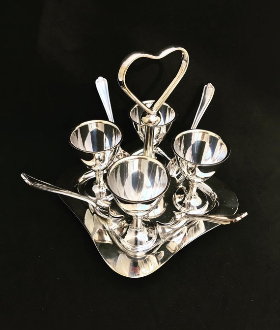 Antique Egg Holder Set Breakfast set Chic Cottage Made in England Walker and Hall 1920s  Silver plated 4 Egg Cup Spoon Cruet Set and Stand