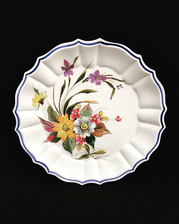 Bassano decorative plate floral hand painted mid century ABC signed wall art dish collector flowers pattern gift for her italian pottery