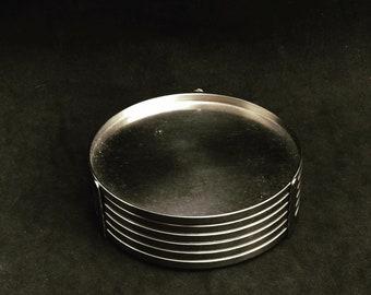 Arne Jacobsen Original 70s Vintage Stelton Gl coaster, stainless steel/mat, 6 coasters with holder barware Scandinavian design gift for him